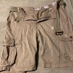 BKE distressed cargo shorts